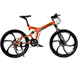 Selected Cyrusher RD-100 Orange Shimano M310 ALTUS Full Suspenion 24 Speeds Folding Mens Mountain Bike Bicycle 17 in * 26 in Aluminium Frame Disc Brakes