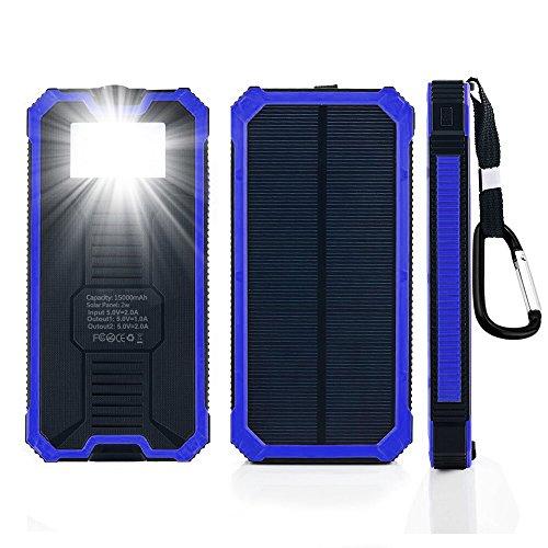 15000mAh大容量太陽光発電モバイルバッテリー 携帯充電器 ソーラーチャージャー ソーラーパネルと6つLEDライト付き iPhone/iPad/Galaxy Note/各種タブレット対応 旅行・キャンプなどアウトドアに大活躍! 地震・災害時にも必携! ブルー