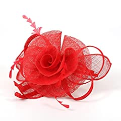 Pandahall 1 Pcs Elegant Red Fascinator Uk for Weddings Big Organza Flower Mesh Feather Fascinator on Hair Band