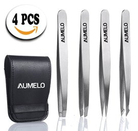 4-Tips-Natural-Premium-Stainless-Steel-Tweezers-Gift-Set-with-Leather-Case-ClassicSlantStraight-and-Pointed-Tweezers-Best-for-EyebrowFacialIngrown-Nose-HairSplinters-NO-Chemical