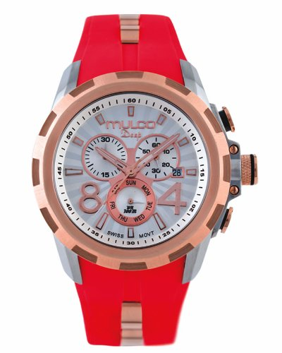 Mulco MW1-29382-063 Stainless Steel Chronograph Deep Crown Red Watch
