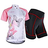Sponeed Women's Cycle Jersey Bike Clothing Gel Padded Short Sleeve Butterfly Size M US Pink