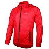 Outto Unisex Lightweight Packable Hoodie Rain Proof Skin Coat Sports Jacket(Red,L)