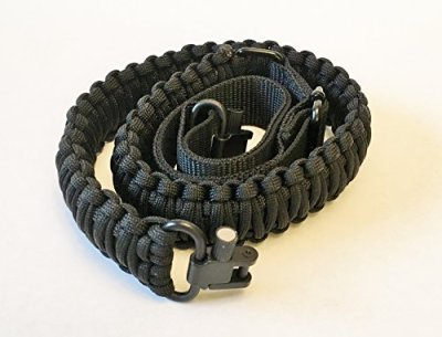 Gun Sling Paracord 550 Adjustable w/ Swivels (Multiple Color Options) (Black)