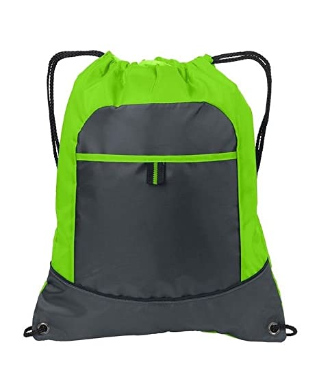 AimTrend All-Purpose Pocket Cinch Drawstring Gym Bag, Lime/Smoke