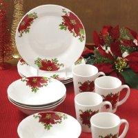 Poinsettia Dinnerware Sets | Christmas Wikii
