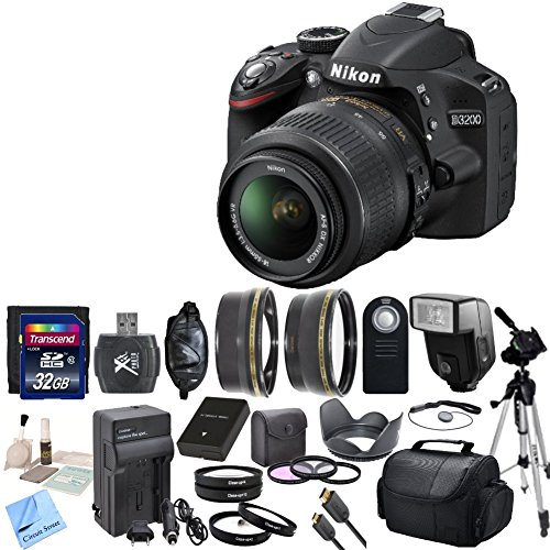 Nikon D3200 24.2 MP CMOS Digital SLR with 18-55mm f/3.5-5.6 AF-S DX VR NIKKOR Zoom Lens & CS Premium Package: Includes Transcend 32GB SDHC Memory Card, SD Card Reader, Memory Card Wallet, SLR Hand Strap, Lens Cap Keeper, High Definition Wide Angle Lens, Telephoto HD Lens, 3 Piece Filter Kit, 4 Piece Macro Close Up Set, Wireless Shutter Release, Shoe Mount Flash, Nikon ENEL14 Replacement Battery, Rapid Travel Charger With Car Adapter, HDMI Cable, Tulip Lens Hood, Full Size Tripod, Weather Resistant Carrying Case, Brush Blower, Cleaning Kit, LCD Screen Protectors & CS Microfiber Cleaning Cloth