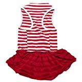 Binmer(TM)Cute Dog Clothes Pet Dog Costume Stripe T-shirt Skirt Puppy Princess Dress Dog Apparel (Red, M)