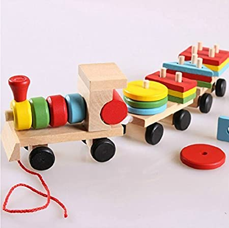 YIXIN Wooden Stacking Block Pull Along Train Stacker Stacking Puzzle Train for Educational Development Baby Kids Toy Sets