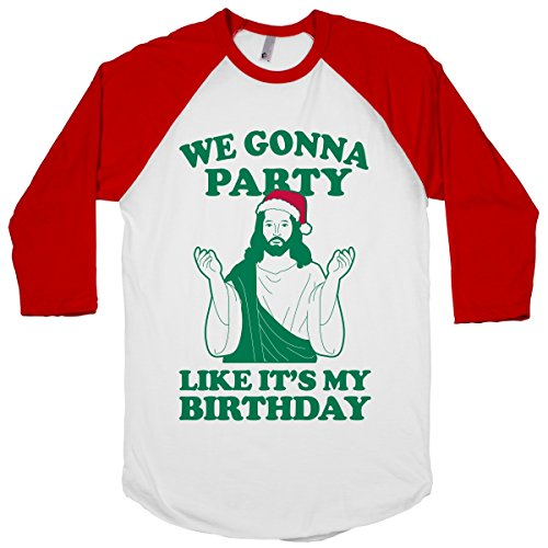HUMAN We Gonna Party Like it's My White / Red XL Baseball Tee