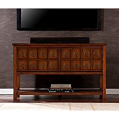 Southern Enterprises Oxnard Apothecary Console and TV Stand, Brown