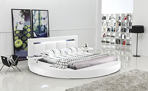 Daily Real Estate, Mortgage, Loans,(VIDEO Review) Oslo Round Bed with Headboard Lights Queen Size (White),