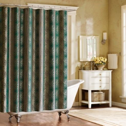 home garden shower curtains caro home fabric shower curtain teal gray striped 100 cotton 72 x 72 dailystyles de