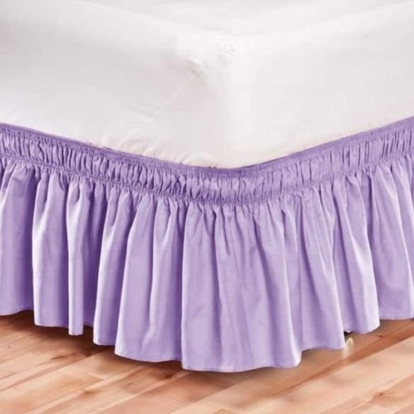Elastic Bed Skirt Dust Ruffle Easy Fit Wrap Lavender Color Twin Size