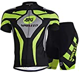 Sponeed Men's Bicycle Jersey Polyester and Lycra Explore Size L US Green
