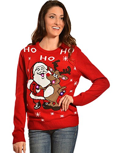 Lisa International Women's Santa And Reindeer Light-Up Christmas Sweater – 7069
