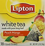 Lipton Tea White Tea Pyramid Mango & Peach, 18-count (Pack of3)