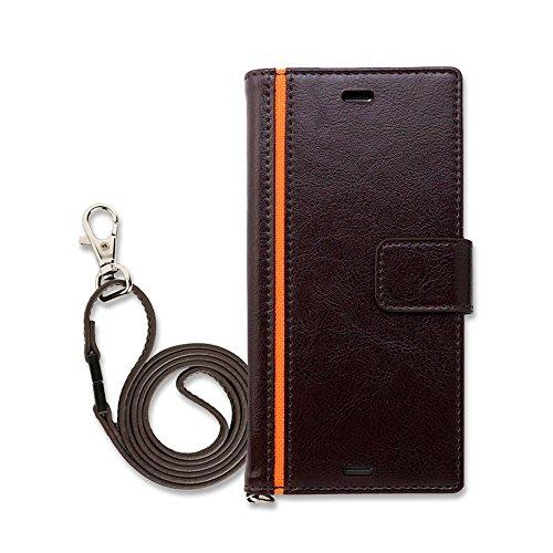 Hy+ Xperia XZエクスペリアXZ SO-01J SOV34 本革レザー ケース 手帳型 ブラウン ネックストラップ、カードポケット、スタンド機能付き