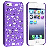 eForCity Snap-on Case Compatible with Apple® iPhone® 5, Dark Purple Bird Nest Rear