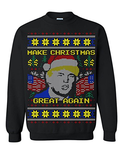 Donald Trump Make Christmas Great Again Ugly Christmas Men Sweatshirt Black (Large)