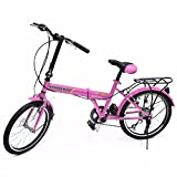 "GHP Shimano High Quality 20"" Pink 6 Speed Folding Sports Bicycle"