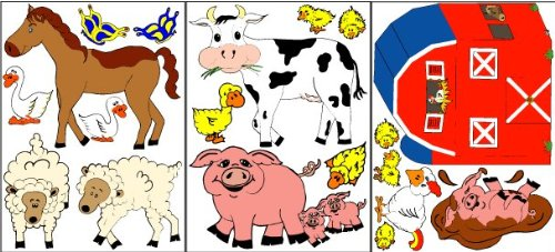 Farm Animal Wall Decals / Stickers Removable, Repositionable, Reusable