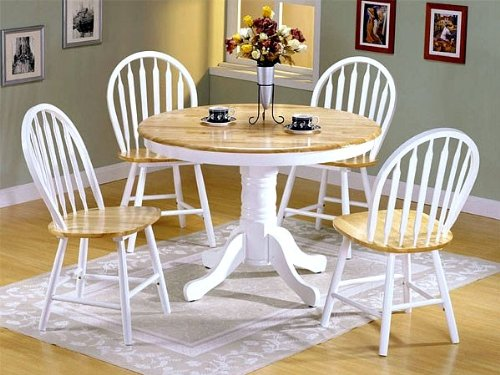 buy low price acme furniture 5pc white natural wood round dining table 4 windsor chairs set vf. Black Bedroom Furniture Sets. Home Design Ideas