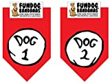 2 Pack DOG BANDANA - Dog 1 & Dog 2 for Medium to Large Dogs - red