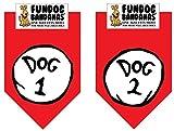 2 Pack DOG BANDANA - Dog 1 & Dog 2 for Medium to Large Dogs - red