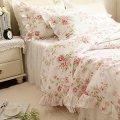 Style pink little rose floral print duvet cover bedding sets 4 piece