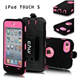 E-LV Full Protection Armor Defender Series Case shell with belt clip holster for iPod Touch 5 5th Generation (Pink, Ipod Touch 5)