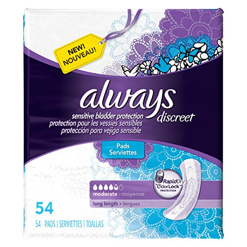long length,incontinence pads,video review,always discreet,54 count,(VIDEO Review) Always Discreet, Incontinence Pads, Moderate, Long Length, 54 Count,