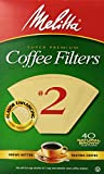 Melitta Cone Coffee Filters, Natural Brown, No. 2, 40 ct
