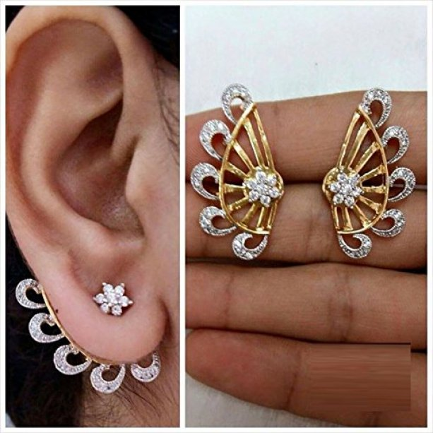 YouBella Gold Plated American Diamond Ear cuffs Earrings