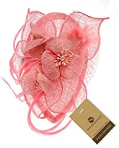 NYfashion101(TM) Cocktail Fashion Sinamay Fascinator Hat Flower Design & Net F09085-Light Pink