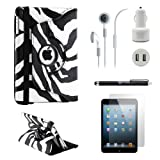 Gearonic iPad Mini 5-in-1 Accessories Bundle Black and White Zebra Rotating Case Business Travel Combo
