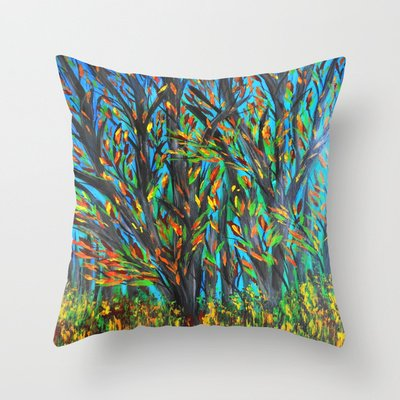 Trees Throw Pillow by Maggs326