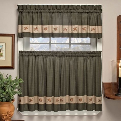 Embroidered Mini Plaid Green Pine Cone Curtains From Amazon!