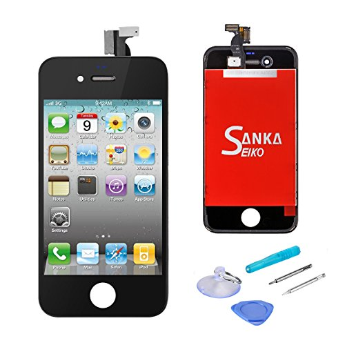 iPhone 4GSM フロントパネル カスタムパーツ 液晶パネル LCD スクリーン 修理パーツ-黒