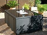 Rattan Tisch Gartentisch und 6 Sessel / Stühle plus 3 Hocker in schwarz ToXL6+3