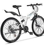 "Xspec 26"" 21 Speed Folding Mountain Bike Bicycle Trail Commuter Shimano White"