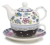 Whimsical Flower Teapot Duo Adorable Teapot and Teacup for One Set