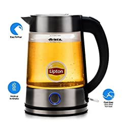 Ariete Lipton 2872 Modern Cordless Electric Glass Tea Kettle 1.7 Liter