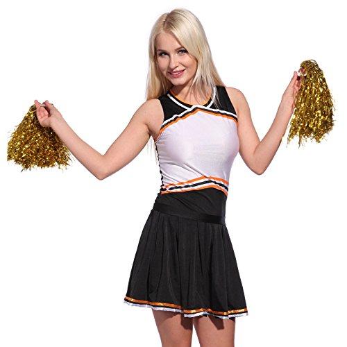Anladia Cheerleader Kostuem Uniform Cheerleading Cheer Leader mit Pompon Minirock GOGO Damen Maedchen Karneval Fasching