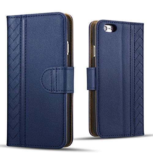【販売記念価格限定100個】Drool iPhone6s アイフォン6 ケース カバー 手帳型 スタンド機能 カード収納 3枚 ポケット付き シューズ専用レザーを使用した丈夫でオシャレな大人編み込みデザイン kmd601n ネイビー/navy