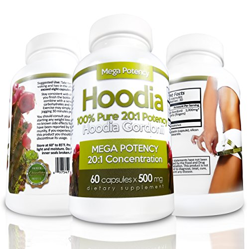 Hoodia Gordonii - The BEST Appetite Suppressant 20:1 Potency is 20X Stronger Than Typical Raw Hoodia. Safe and Stimulant Free Unlike Most Diet Pills & Weight Loss Products. Reduce Hunger & Lose Weight