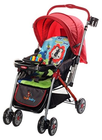 Sunbaby Royale Stripe Stroller (Red)