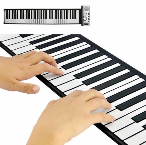 Flexible Roll Up Synthesizer Keyboard 61 Keys Piano with Soft Keys PK0161 (Portable piano on the go)