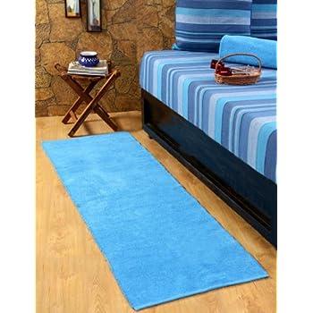 magasin lit enfant pas cher homescapes tapis de couloir uni chenille 100 coton tapis bleu 66 x 200 cm lavable a la maison tapis chemin de couloir ou grand tapis descente de lit