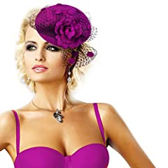 Womens Fascinator Wool Hair Pillbox Hat Rose Veil Cocktail Party Wedding A043 (Purple)